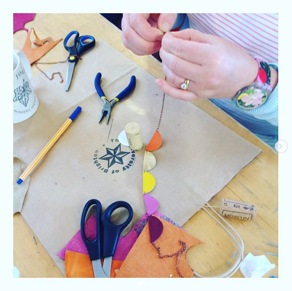 Recycled Leather Bunting Necklace Workshop